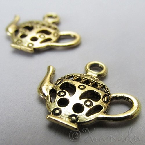 Teapot Wholesale Gold Charm Pendant Jewelry Findings C2405 - 20, 50 or 100PCs Jewelry Making Supply Pendant Bracelet DIY Crafting by Wholesale Charms