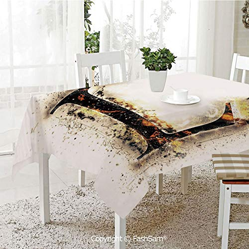 AmaUncle 3D Dinner Print Tablecloths Fire Letter Capital L Alphabet Blazing Symbol Scorched Background Conceptual Table Protectors for Family Dinners (W55 xL72)]()