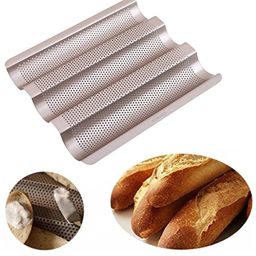 1 piece 3-slot Non-stick Baguette Baking Tray Loaf Mould French Bread Pan Bake Tools Gold Color Baguette Frame Rack Baking Tools
