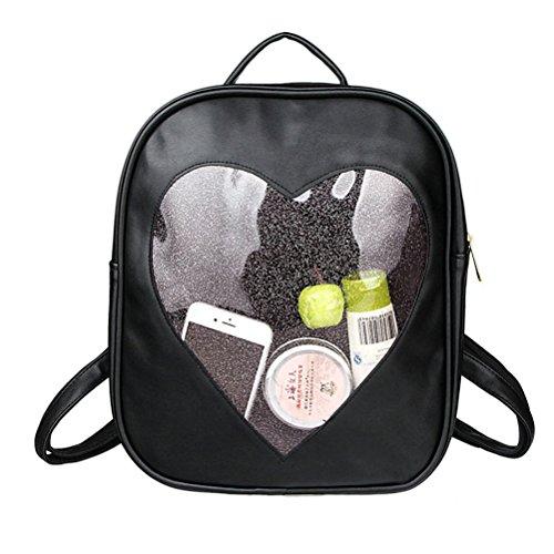 donna borse carino forma Viola Nero a cuore piccolo trasparente zainetto Honeymall wt6FqxF