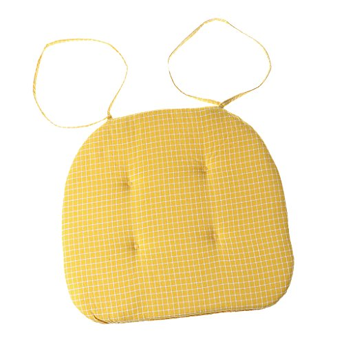 Homyl 4 Pieces Removable Garden Patio Home Square Chair Seat Pad Cushion Yellow Checked ()