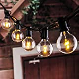 25Ft LED G40 String Lights with 25 LED Warm Globe Bulbs-UL Listed for Indoor/outdoor, Patio Lights, Backyard Lights, outdoor bulb string lights