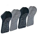 Pilates Ballet Barre Yoga Socks - Elutong 4 Pack Non Skid Slip Sticky Grippers Socks for Women ¡ (M(5-8), Black2+Grey2)