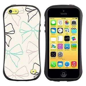 Suave TPU GEL Carcasa Funda Silicona Blando Estuche Caso de protección (para) Apple Iphone 5C / CECELL Phone case / / bow tie beige teal brown black pattern /