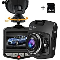 PEMENOL Dash Cam 1080P HD Dashboard Camera Recorder Car DVR with 170°Wide Angle 2.31 Screen Camcorder, Loop Recording, G-Sensor, Parking Monitor,Motion Detection,32GB Micro SD Card Included