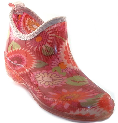 Shoes8teen Womens Short Rain Boots Prints & Solids (8, 1118 Red Flower)