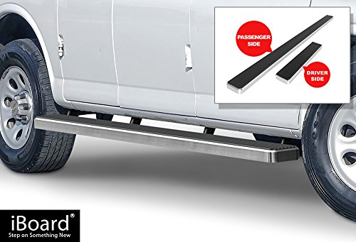 APS iBoard Running Boards (Nerf Bars | Side Steps | Step Bars) for 2003-2019 Chevy Express/GMC Savana 1500/2500/3500 Full Size Van | (Silver Powder Coated 5 inches)