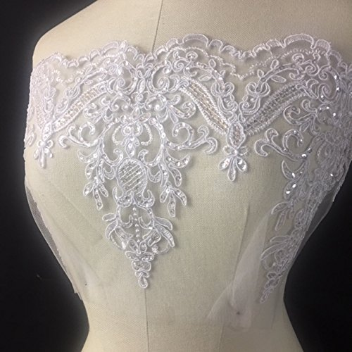 Bridal Mesh Lace Trim, Corded and Sequined, EXCELLENT QUALITY,WHITE, 9