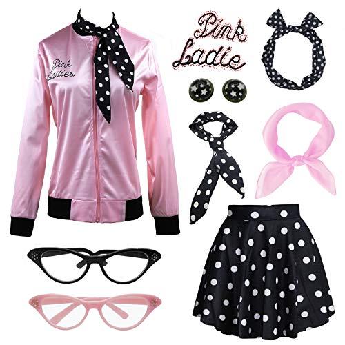 - IWIWB Retro 1950s Pink Lady Jacket Fancy Dress 50s Halloween Costume