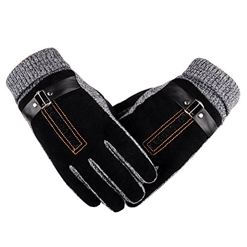 Surblue Men Warm Outdoor Non-Slip Touch Screen Windproof Cashmere Lined Gloves (Gloves Purpose Fleece)