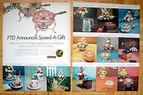 (1969 FTD Floral Bouquets-Chafing Dish-Original 2 Page 13.5 * 10.5 Magazine Ad)