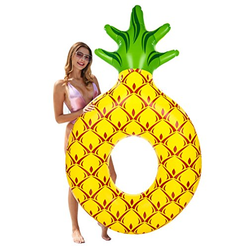GABOSS Inflatable Pineapple Pool Floats Party Tube Swimming Ring Pool Toys for Adults & Kids, 55 x 55x 76 - Funny Fruit Float Inflatable Vinyl Pool Floats