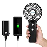 NACATIN HF310 Mini Handheld Fan with 5200mAh Removable Power Bank,3 Wind Speed Settings, Long Work Time(5-20 Hours), Rechargeable, Foldable and Compact for Indoor and Outdoor Activities, Black