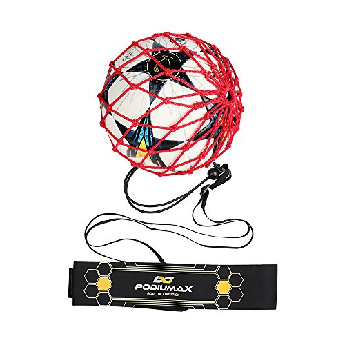 PodiuMax Hands-Free Soccer Kick/Throw Trainer, New Ball Locked Net Design, Adjustable Waist Belt & Cord Suit for All Levels (Fits Ball Size 3, 4, 5) ()