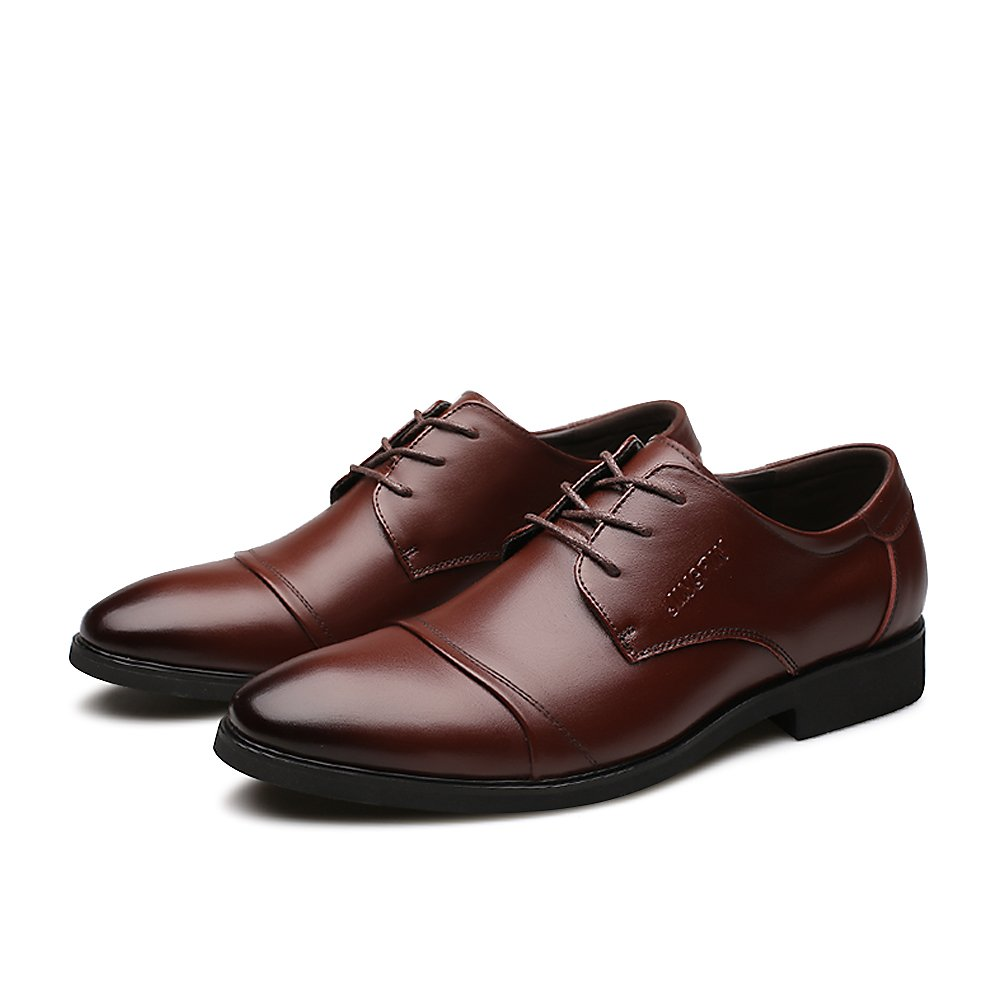 2018 Men's Classic Leather Oxfords Casual Lace Up Design Formal Business Wedding Dress Shoes Male Flats Footwear (9.5, Luxury Eyelet Brown)