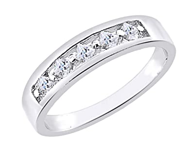 Wishrocks Round Cut White Cubic Zirconia Engagement Ring in 14K White Gold Over Sterling Silver