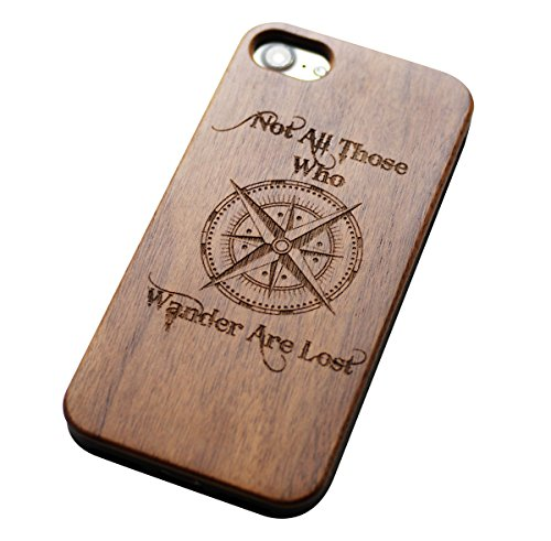 VIVIPOW Wood All Who Wander are Not Lost Phone Case Compatible iPhone 7 Case(4.7 Inches), All Who Wander are Not Lost with Compass Case Compatible iPhone 7 4.7 Inches