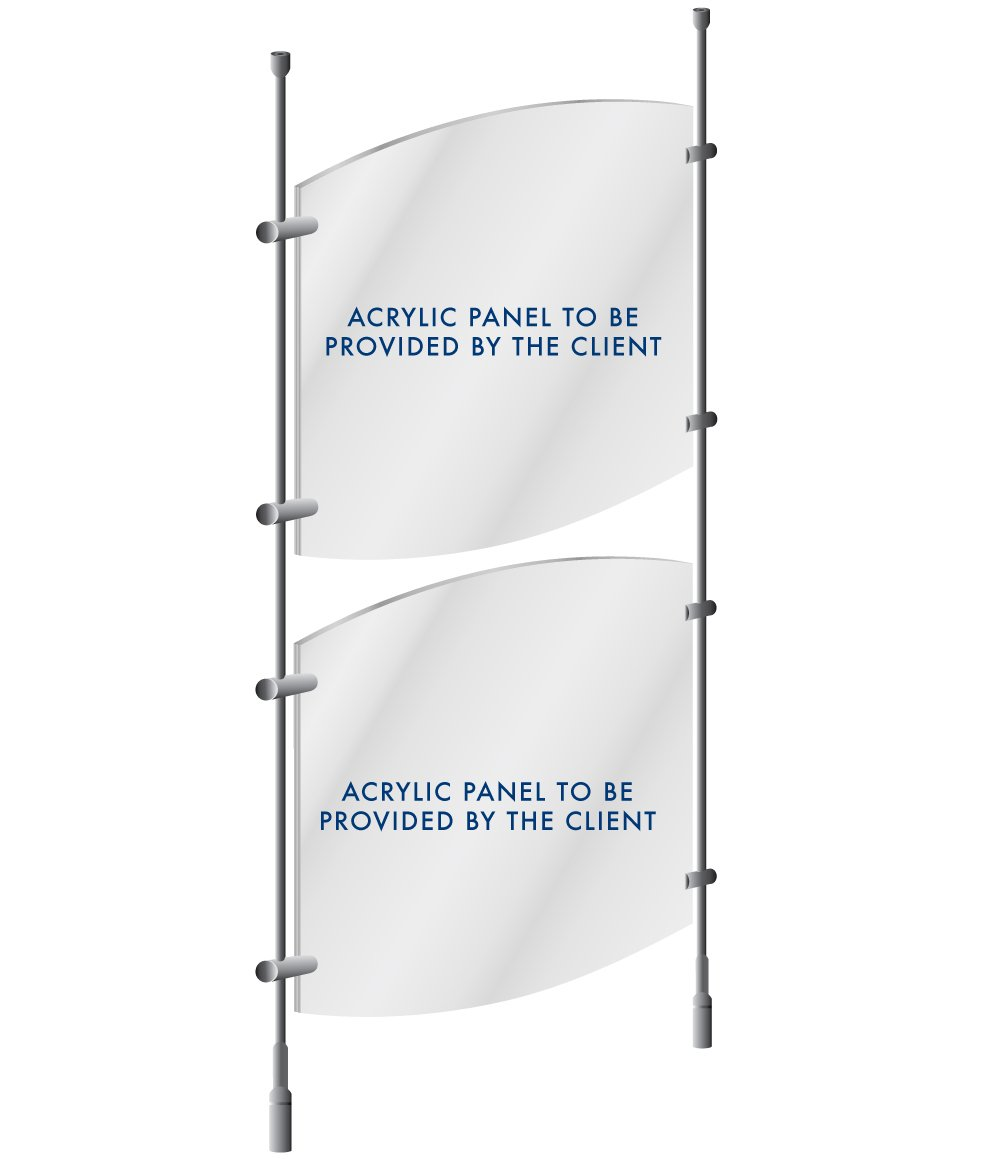 Ceiling-to-Floor Rod Display Suspension Kit for Posters, Signage, Decor Screens, Partitions - Supports 3/16'' or 1/4'' Thick Panels