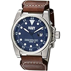 U.S. Navy Wrist Armor Men's 'C1' Swiss Quartz Stainless Steel and Leather Watch, Color:Brown (Model: 37WA0415L01A)