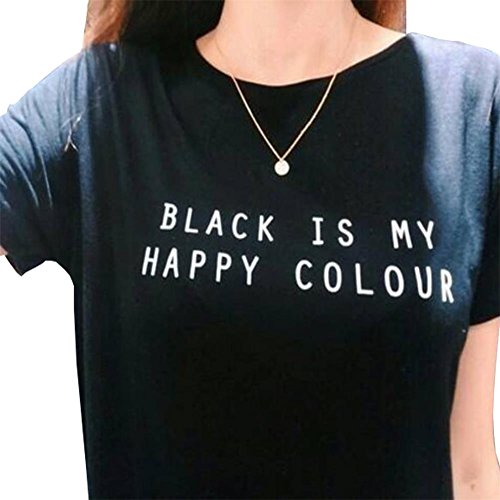 Color Black T-shirt - YITAN Womens Casual Short Sleeve Summer T Shirts Print Letter Top Tees Black 2X-Large