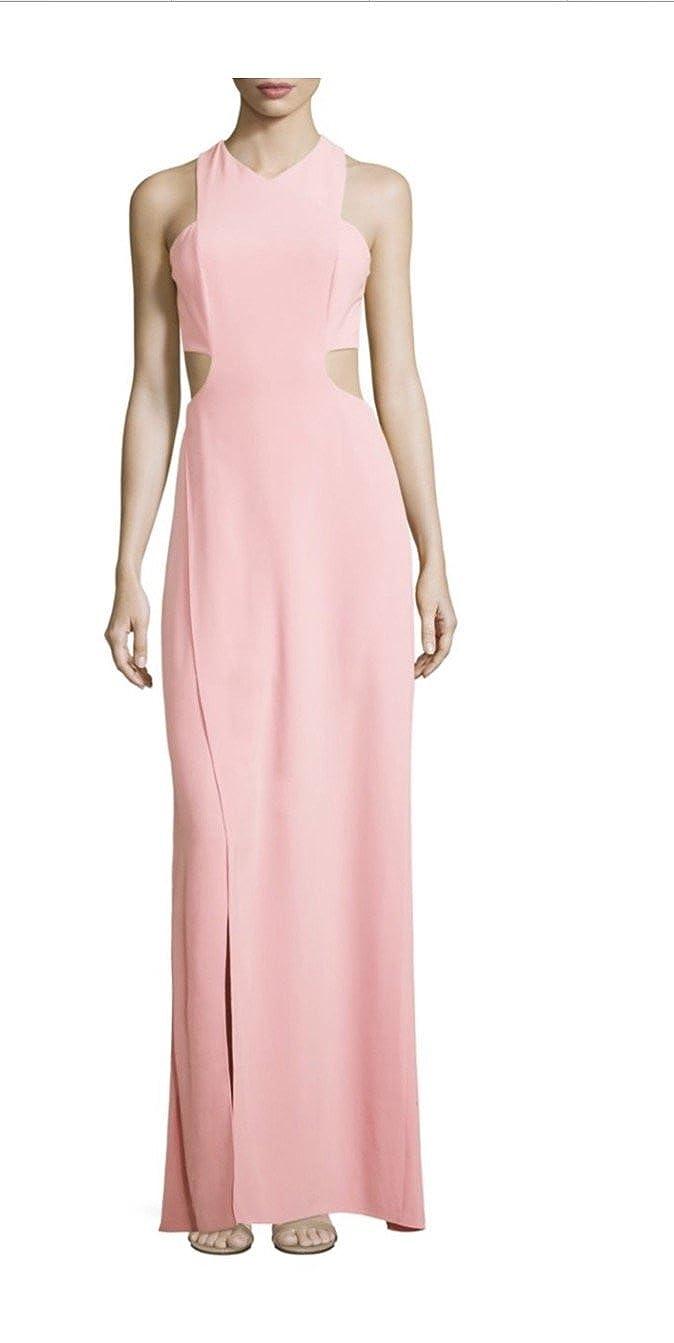4f59cb128d6 Amazon.com  Halston Heritage Sleeveless Back Cutout Long Crepe Gown ...