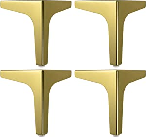 FBBSZSD Sofa Legs Metal Furniture DIY Table Legs Cabinet Feet Metal Furniture Feet for Coffee Table, Dining Table, Designer Desk, Bedside Table, Chairs, Cabinet and Sofa,Pack of 4,Gold,13c