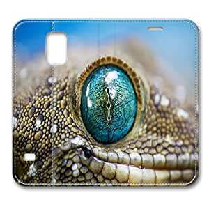 Leather Samsung Galaxy S5 Flip Case Cover, Reptile Eye Samsung Galaxy S5 Full Body Protector Leather Flip Folio Case Cover, Original Design And Made By PhilipHayes