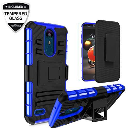 LG Aristo 2/Rebel 4 LTE/Aristo 3/Tribute Empire/Zone 4/Tribute Dynasty/Fortune 2/Phoenix 4/Risio 3/K8+ Plus Case Tempered Glass Screen Protector,Shockproof Protective Case [Belt Clip&Kickstand], Blue