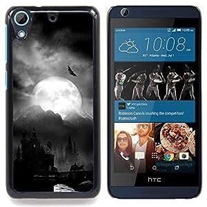 /Skull Market/ - Night Moon Dracula Castle Halloween Bat For HTC Desire 626 & 626s - Mano cubierta de la caja pintada de encargo de lujo -