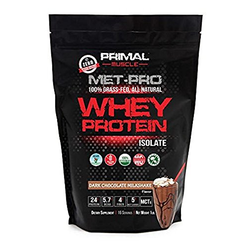 Primal Muscle Met-Pro Premium All Natural 100% Grass Fed Whey Protein Isolate Powder - Weight Loss, Performance Enhancing, Muscle Growth - Dietary Supplement - Chocolate Milkshake (Performance Protein Pro Soy)
