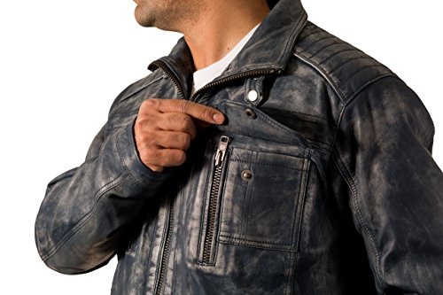 Biker Chaqueta de para marr efecto Mill piel suave hombre azul envejecida frote sime con qRTCrq