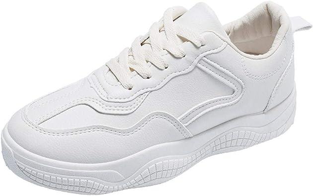 FAMILIZO Zapatillas Mujer Running Zapatillas Deportivas De Mujer Sneakers Women Primavera Moda Mujer Zapatos Casuales De Piel De Ante De La Plataforma Sneakers Damas Blancas: Amazon.es: Zapatos y complementos