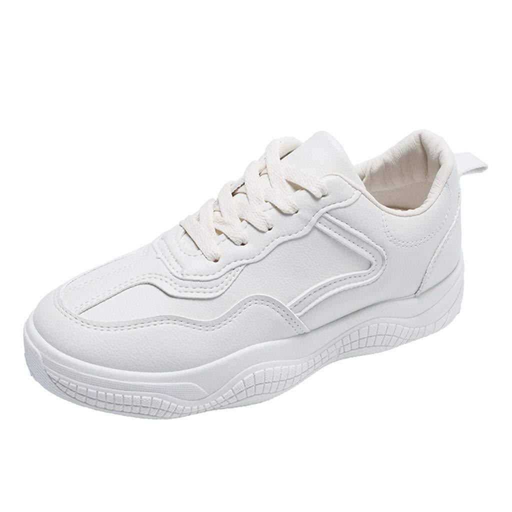LHWY Sandalias de Vestir Chanclas Moda Mujer Zapatos Casuales Plataforma de Cuero Zapatillas de Deporte de Las señoras Zapatillas de Deporte Blancas