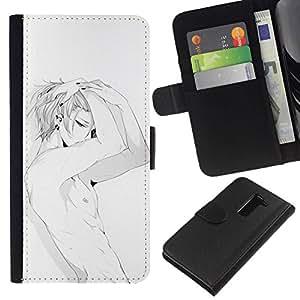All Phone Most Case / Oferta Especial Cáscara Funda de cuero Monedero Cubierta de proteccion Caso / Wallet Case for LG G2 D800 // Sexy Japanese Anime Abs Man White