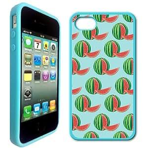 Aqua Watemelons Pattern Hipster Aqua Silicon Bumper iPhone 4 Case Fits iPhone 4 & iPhone 4S