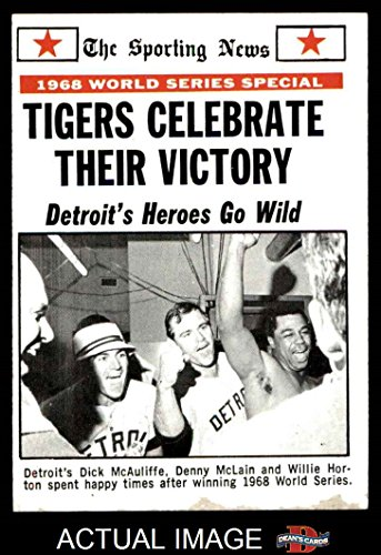 1969 Topps # 169 1968 World Series Summary - Tigers Celebrate Their Victory Dick McAuliffe / Denny McLain / Willie Horton St. Louis / Detroit Cardinals / Tigers (Baseball Card) Dean's Cards 2 - GOOD Cardinals / Tigers