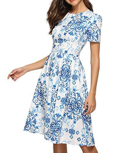 Simple Flavor Women's Floral Summer Midi Dress Vintage Evening Dress Short Sleeve(0016BLue,L)