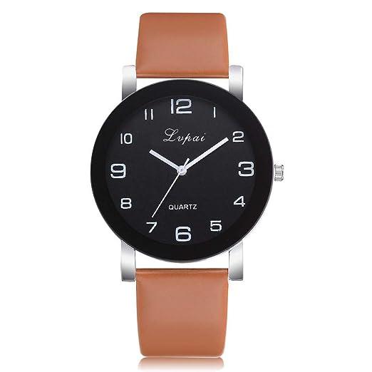 Hot Sal.firally Reloj de Pulsera Analógico de Pulsera de Banda de Cuarzo Casual de Piel para Mujer wristwatches Relojes de Pulsera Relojes de Mujer café: ...