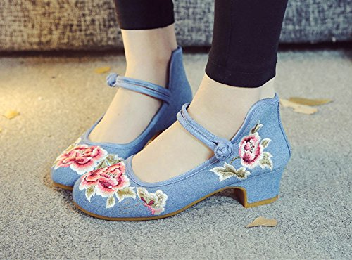 Avacostume Mujer's Classic Peony Embroidery Strappy High Heels Blue