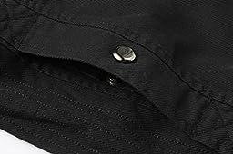 Wantdo Men\'s Cotton Stand Collar Lightweight Front Zip Jacket US Large Black