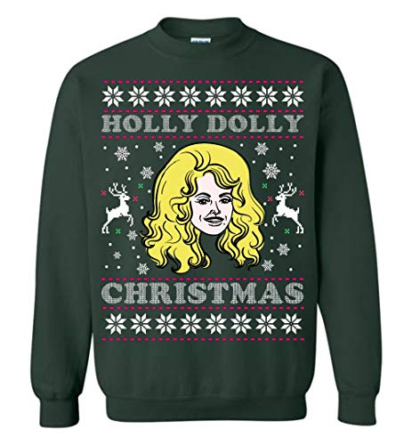 CLOTHINGFORFUN Holly Dolly Christmas Cool Sweatshirt Adult and Youth Size Forest Green