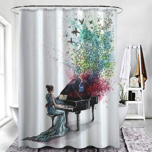 ZXAWT Brand Waterproof Bathroom Shower Curtains Piano Playing by Girls(72