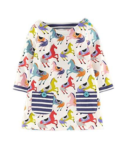 Rjxdlt Girls Dress Cotton Long Sleeve Casual Cartoon Print Dress 2T - Christmas Special Dress Occasion