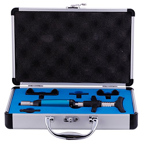 6 Levels Portable Chiropractic Instrument Spine Activator Back Adjusting Tool with Aluminium Box Medical Therapy Back Massage Tool (4 Heads + Box)