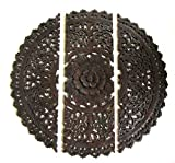 Teak Lotus Hand Carved Wall 3 Panel Thai Teakwood Plaque Wood Carving Sculpture Wooden Flower Decor Round Relief Art Brown Large 36 (Spear Edge)