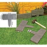 REALMAX® Rasenkante / Beeteinfassung, Kopfsteinpflaster-Design, Kunststoff, zum Einhämmern, dunkelgrau, 10 Stück
