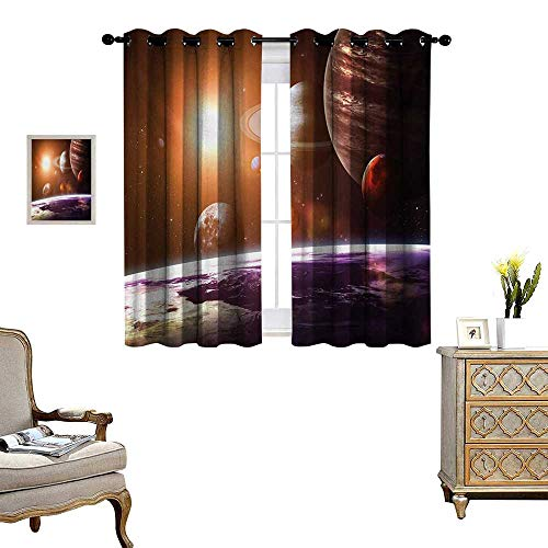 Galaxy Patterned Drape for Glass Door Space Theme View of The Planets from Earth Science Room Art with Sun and Moon Waterproof Window Curtain W55 x L63 Magenta Orange -