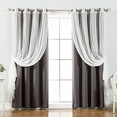 Best Home Fashion Mix & Match Tulle Sheer Lace & Blackout Curtain Set - Antique Bronze Grommet Top - Dark Grey - 52 W X 84 L - (2 Curtains and 2 Sheer curtains)
