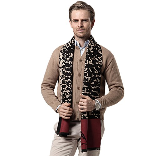 Also Easy Winter Cashmere Scarf Mens New NEW Plaid Autumn Winter Fashion Black Red Gray Warm Scarf Men Scarves Black Wine Red 180CM X 30CM (Prairie Lights Christmas Grand)