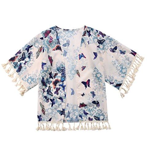 Kid Toddler Girls Butterfly Print Jacket Tassel Kimono Cardigan Cover up Blouse Summer Coat(Beige, 5-6Year)